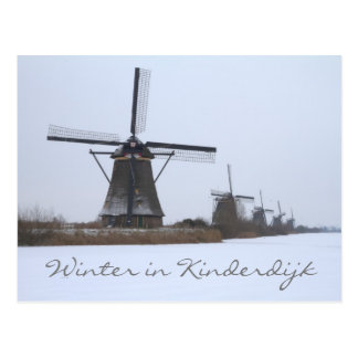 Winter in Kinderdijk, Unesco site Postcard