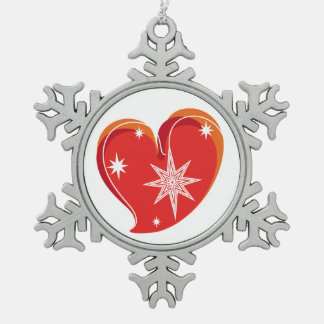 winter in love-Red Pewter Snowflake Ornament