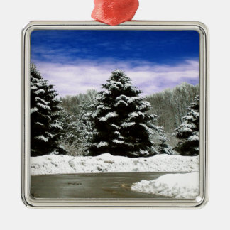 Winter in New England Metal Ornament