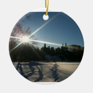 Winter In NYC Round Ceramic Ornament