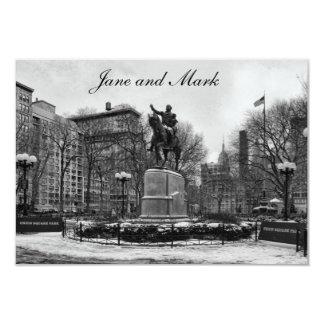 """Winter in NYC's Union Square 001 Black White 3.5"""" X 5"""" Invitation Card"""