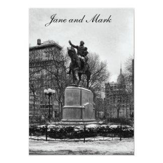 """Winter in NYC's Union Square 001 Black White 5"""" X 7"""" Invitation Card"""