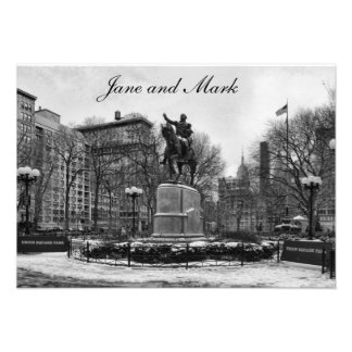 Winter in NYC's Union Square 001 Black White Custom Announcement