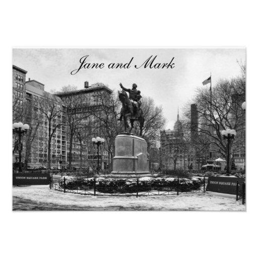 Winter in NYC's Union Square 001 Black White Custom Announcement