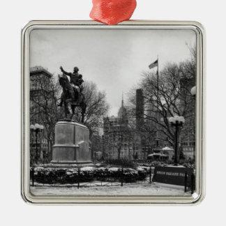 Winter in NYC's Union Square 001 Black White Metal Ornament