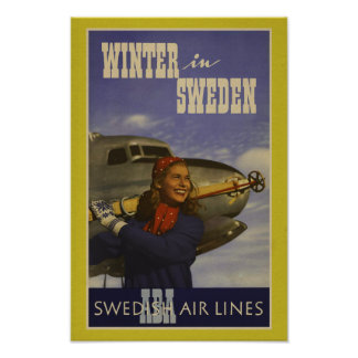 Winter In Sweden - Vintage Travel Advert Poster