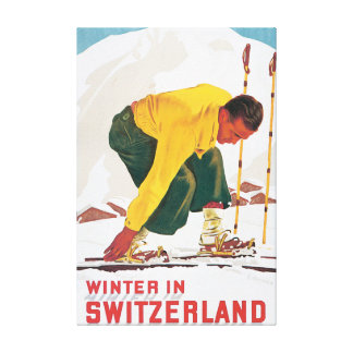 Winter in Switzerland Vintage Travel Poster Canvas Print
