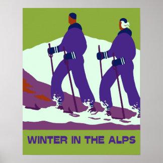 Winter in the Alps retro pop art Poster