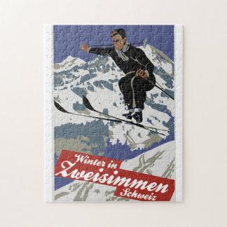 Winter in Zweisimmen vintage ski travel ad Jigsaw Puzzle