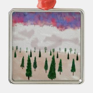 winter is coming Silver-Colored square ornament