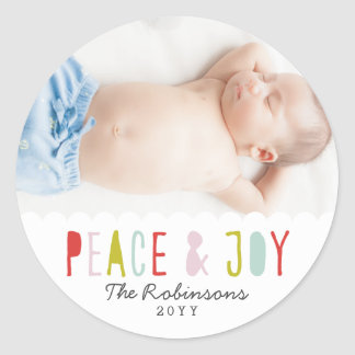 Winter Joy Holiday Classic Round Sticker