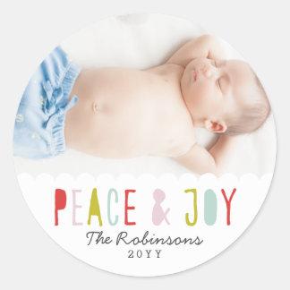 Winter Joy Holiday Round Sticker