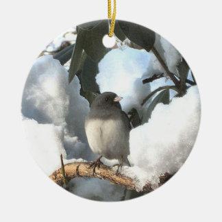 Winter Junco Ceramic Ornament