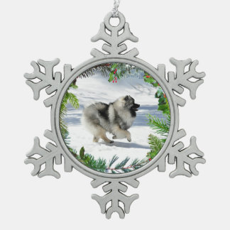 Winter Keeshond Snowflake Ornament