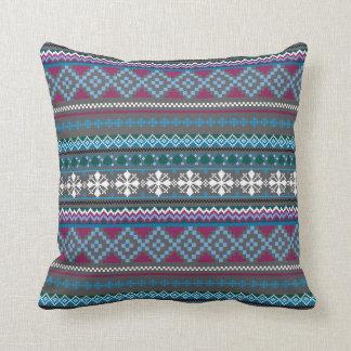 Winter Knit Look Stripe Gray Blue Pillow