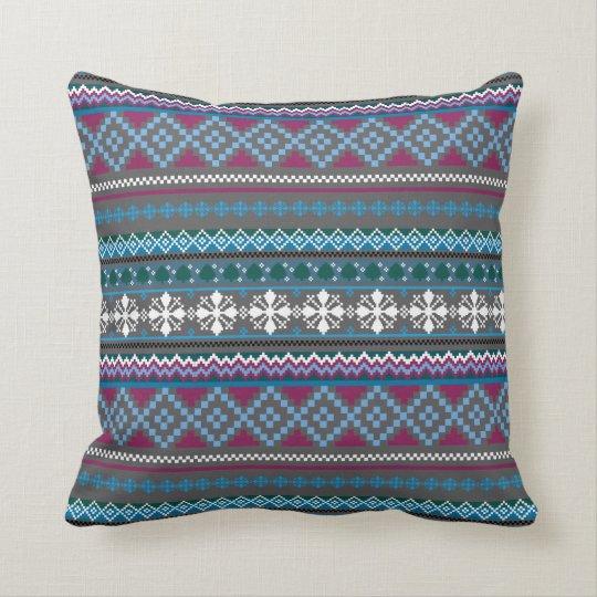 Winter Knit Look Stripe Grey Blue Pillow