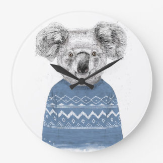Winter koala large clock