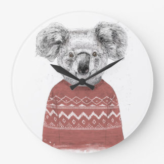Winter koala (red) large clock