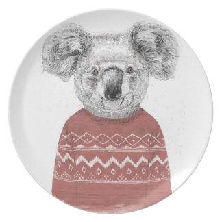 Winter koala (red) plate