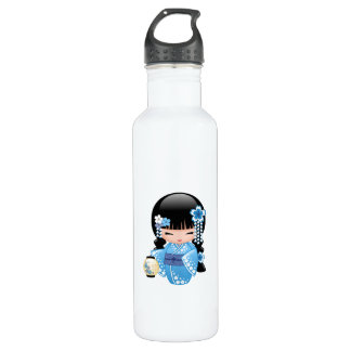Winter Kokeshi Doll - Blue Kimono Geisha Girl 710 Ml Water Bottle