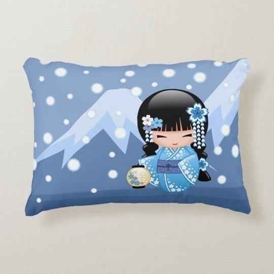 Winter Kokeshi Doll - Blue Mountain Geisha Girl Decorative Pillow