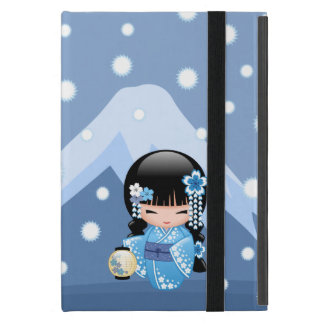 Winter Kokeshi Doll - Blue Mountain Geisha Girl iPad Mini Case
