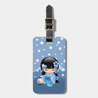 Winter Kokeshi Doll - Blue Mountain Geisha Girl Luggage Tag