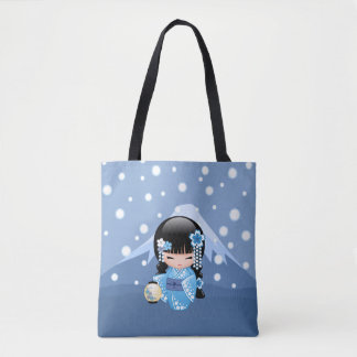 Winter Kokeshi Doll - Blue Mountain Geisha Girl Tote Bag