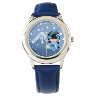 Winter Kokeshi Doll - Blue Mountain Geisha Girl Wrist Watches