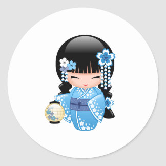 Winter Kokeshi Doll - Cute Japanese Geisha Girl Classic Round Sticker