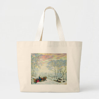 Winter._Kustodiev Large Tote Bag