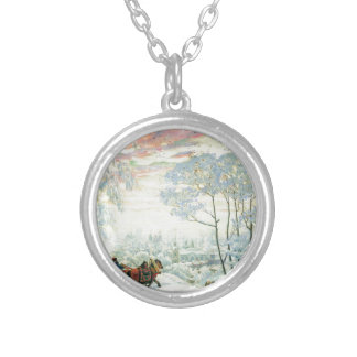 Winter._Kustodiev Silver Plated Necklace