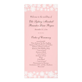 Winter Lace on Blush Wedding Program Custom Rack Cards