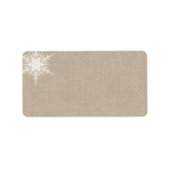 Winter Lace on Burlap Address Label