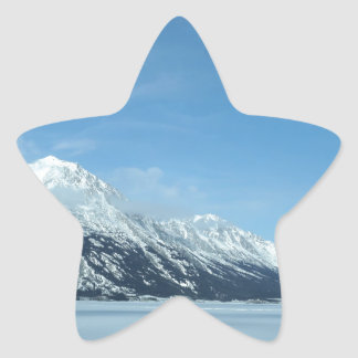 winter lake and mountains star sticker