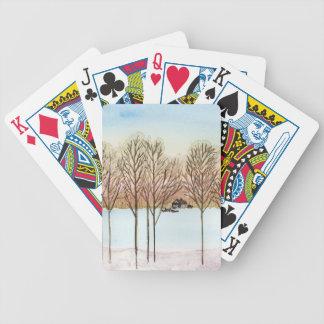 Winter Lake Bicycle Playing Cards