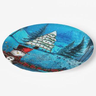 Winter Lake Christmas Folk Art 9 Inch Paper Plate