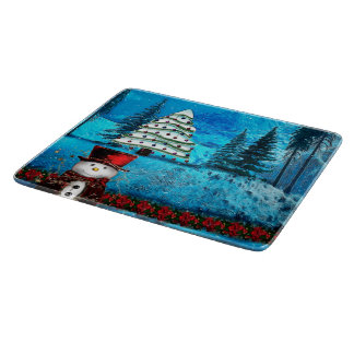 Winter Lake Christmas Folk Art Boards
