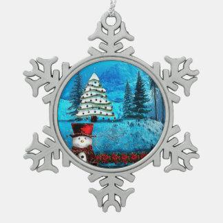 Winter Lake Christmas Folk Art Pewter Snowflake Ornament