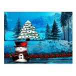 Winter Lake Christmas Folk Art Postcard