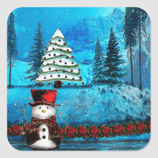 Winter Lake Christmas Folk for Gifts! Square Sticker
