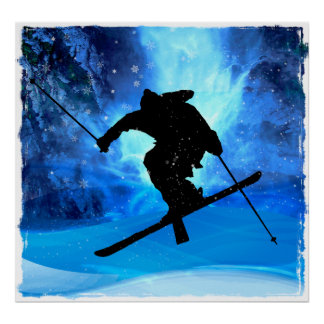 Winter Landscape and Freestyle Skier Poster