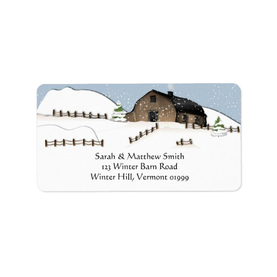 Winter Landscape Barn Address Labels