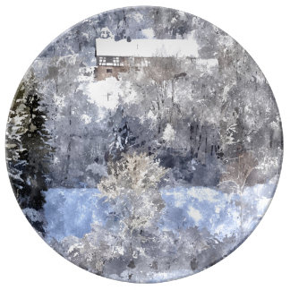 Winter landscape - by Jean Louis Glineur Porcelain Plate