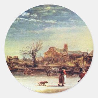 Winter Landscape By Rembrandt Harmensz. Van Rijn Classic Round Sticker