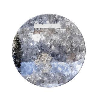Winter landscape - created by Jean Louis Glineur Porcelain Plates