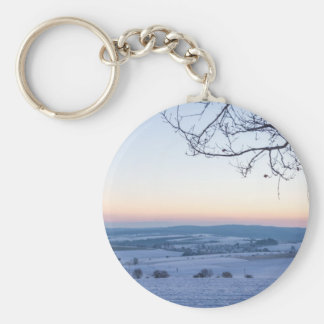 Winter landscape in Germany in the morning Basic Round Button Keychain