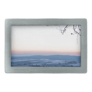 Winter landscape in Germany in the morning Belt Buckles