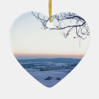 Winter landscape in Germany in the morning Ceramic Heart Ornament