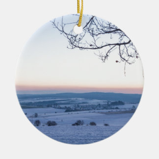 Winter landscape in Germany in the morning Ceramic Ornament